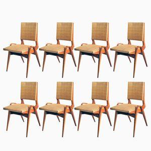 Französische Esszimmerstühle von Maurice Pré, 1950er, 8er Set