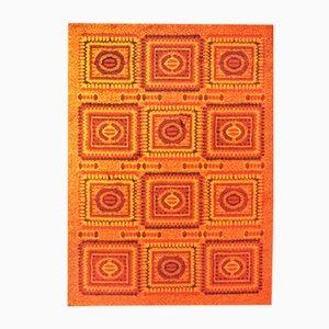 Orangenfarbener Gemusterter Teppich, 1970er