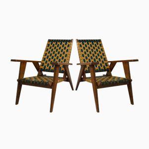 Französische Armlehnstühle, 1950er, 2er Set