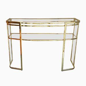 Consolle vintage in vetro e placcata in oro, anni '80