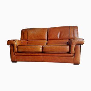 Cognacfarbenes Vintage Sattelleder Sofa, 1980er