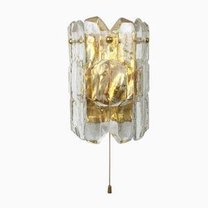 Lampada da parete Hollywood Regency vintage in vetro smerigliato di KALMAR, anni '70