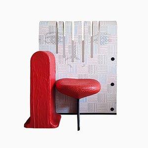 La Smorfia Printed Resin and Red Rubber Chair by Gaetano Pesce for Meritalia, 2003
