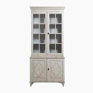 19th Century Gustavian Two Piece Vitrine Cabinet