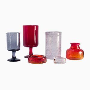 Vintage Glass Vessels by Erik Höglund for Boda, 1960s, Set of 6