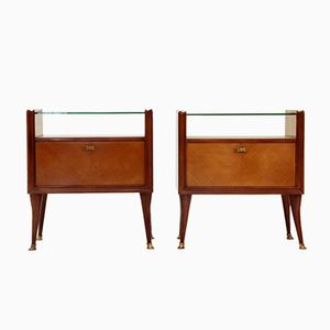 Italian Glass Topped Night Stand, 1950s, Set of 2