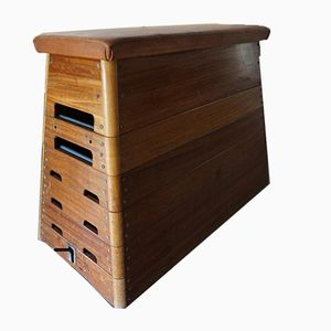 Wooden Gym Box Bench with Leather Top, 1940s