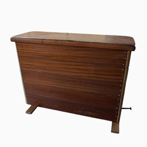 Wood and Leather Gym Box Bench, 1940s