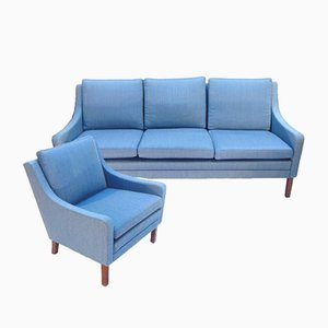 Danish Blue Sofa and Armchair Set, 1960s