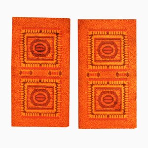 Orange Mosaic Bedside Rugs, 1970s, Set of 2