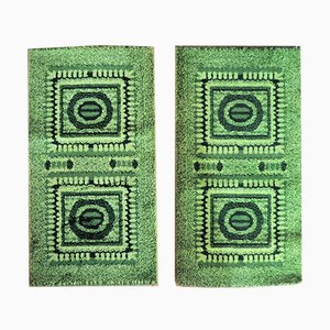 Green Mosaic Bedside Rugs, 1970s, Set of 2