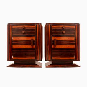 Art Deco Macassar Ebony Bedside Cabinets, 1930s, Set of 2