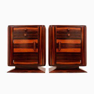 Art Deco Makassar Ebenholz Nachtschränke, 1930er, 2er Set