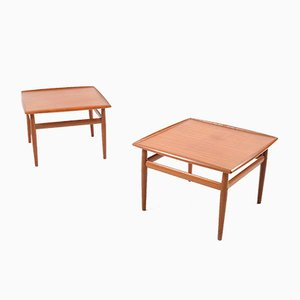 Square Coffee Tables in Teak by Grete Jalk for Glostrup, Set of 2