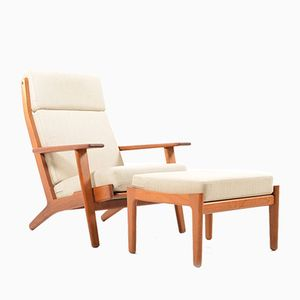 Vintage GE-290 Lounge Chair & Footstool by Hans J.Wegner for Getama