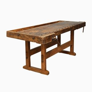 Large Vintage Hungarian Oak Carpenters Workbench, 1930s