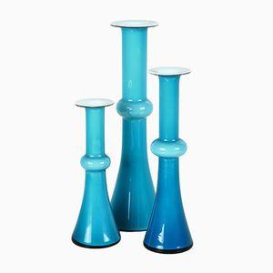 Carnaby Vasen in Opalisierendem Blauen Glas von Christer Holmgren für Holmegaard, 1960er, 3er Set