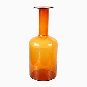 Vaso Gulvvase vintage color ambra di Otto Brauer per Holmegaard