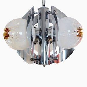Lampadario vintage geometrico in vetro satinato e placcato in cromo di A.V. Mazzega