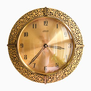 24 Karat Gold-Plated Brass Wall Clock from Atlanta, 1960s