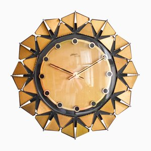 German Sunburst Brass Wall Clock from Atlanta, 1960s