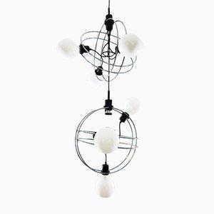 Lampe à Suspension Mid-Century Space Age à Deux Niveaux par Walter Leeman pour RAAK