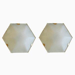 Hexagonal Wall Lights from Stilnovo, 1950s, Set of 2