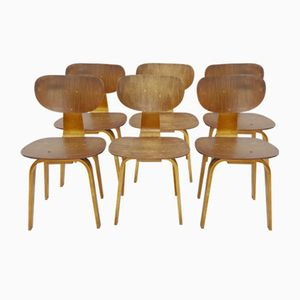 SB02 Plywood Dining Chairs by Cees Braakman for Pastoe, 1955, Set of 6
