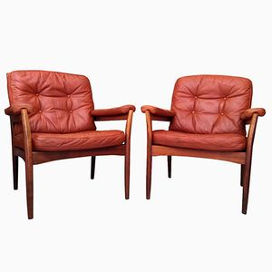 Scandinavian Leather Armchairs, 1960s, Set of 2