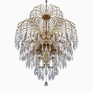 Vintage Gold-Plated Chandelier with Crystals Drops and Stones, 1970s