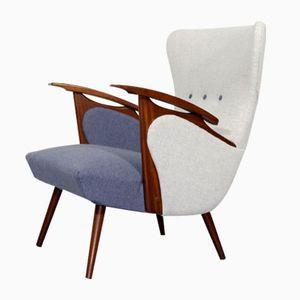 Niederländischer Sessel in Hellgrau & Blau