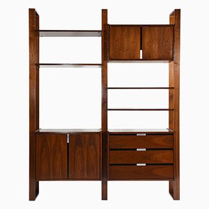 Mid-Century Walnut Freestanding Wall Unit