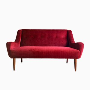 Danish Teak Two-Seater Sofa in Red Velour, 1950s
