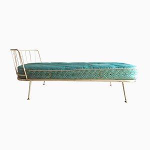 Weißes Mid-Century Metall Tagesbett mit Matratze, 1950er