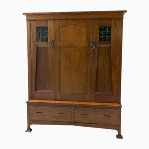Oak English Arts & Crafts Wardrobe or Armoire, 1900s