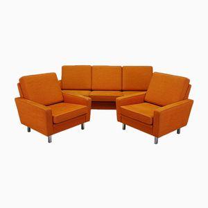 Orangenfarbene Dänische Vintage Sitzgruppe