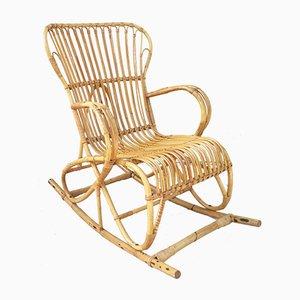 Rocking Chair Vintage en Rotin,1960s