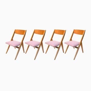 Polish Ash Dining Chairs by Czesław Knothe for RZUT, 1967, Set of 4