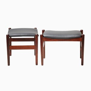 Vintage Danish Rosewood and Leather Stools, Set of 2