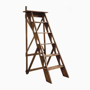 Antique French 6 Level Library Ladder