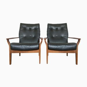 Mid-Century Black Vinyl Armchairs, Set of 2