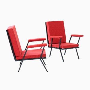 Red Italian Iron Armchairs, 1950s, Set of 2