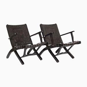 Peruvian Leather Folding Chairs, 1950s, Set of 2