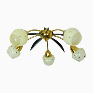 Ceiling Lamp in Brass, Glass, and Metal, 1950s
