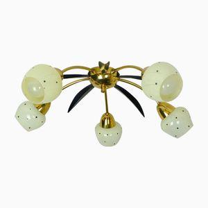 Lampada da soffitto in ottone, vetro e metallo, anni '50
