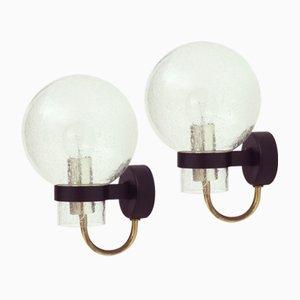 Deutsche Wandlampen aus Glas und Messing von Glashütte Limburg, 1960er, 2er Set