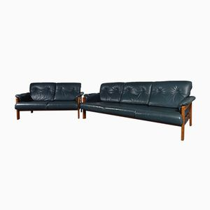Danish Teak & Leather Sofas, 1960s, Set of 2