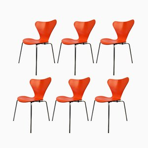 Sedie 3107 vintage di Arne Jacobsen per Fritz Hansen, set di 6