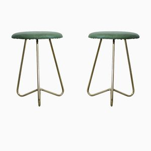 Vintage Leatherette and Brass Stools, Set of 2