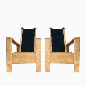 Vintage Eiche Armlehnstühle mit Leder, 2er Set